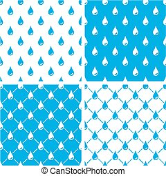 Water Drops Seamless Pattern Blue Color Set - This image is...