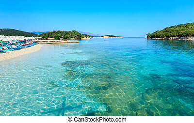 Ksamil beach, Albania. - Beautiful Ionian Sea with clear...