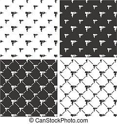 Uzi Gun Big & Small Seamless Pattern Set - This image is a...