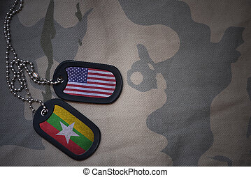 army blank, dog tag with flag of united states of america and myanmar on the khaki texture background. military concept