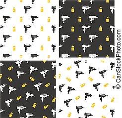 Uzi Gun & Bullet Aligned & Random Seamless Pattern Color Set...