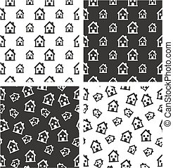 Two Storey House Big & Small Aligned & Random Seamless Pattern Set