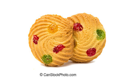 cookies with colored jelly isolated on white background