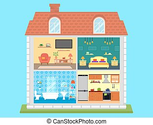 family home in cut. detailed house room interior on home....