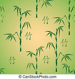 vector seamless background with bamboo and hieroglyph