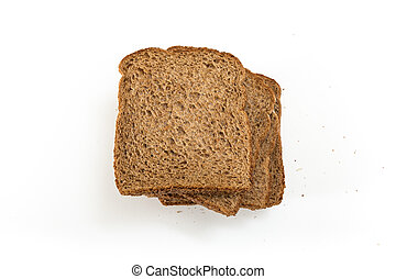 Whole grain sandwich bread slices, on white background.