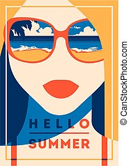 Summer Holiday and Summer Camp poster. Traveling template...