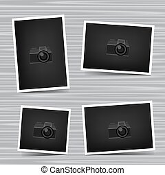 set photos on wooden background