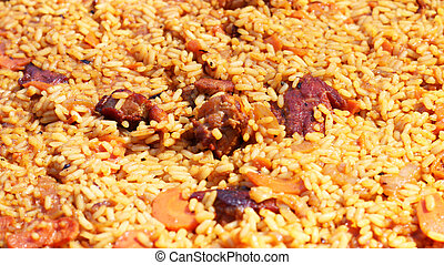 pilaf cooking close-up - Pilaf cooked. Delicious food meat...