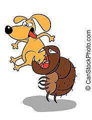 pet dog flea infestation attack vector illustration