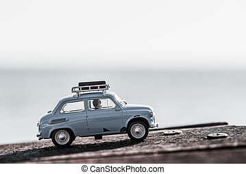 Traveling in a car with their luggage tied on top. Macro...