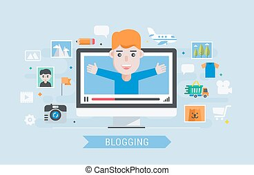 Man blogger - Blogging. Man blogger. Flat modern vector...