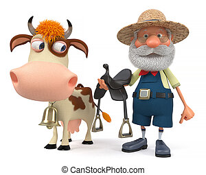 3d illustration a farmer rides his cow - 3d illustration the...