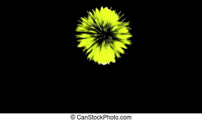 Colorful single firework at night. Spectacular single firework firecrakers 3d render. Yellow version 14