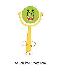 Cute and funny baby rattle toy character with human face