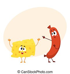 Embarrassed frankfurter sausage character pointing to funny...