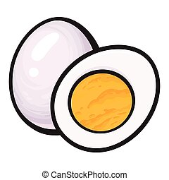 Boiled, peeled chicken egg, whole and cut in half, sketch...