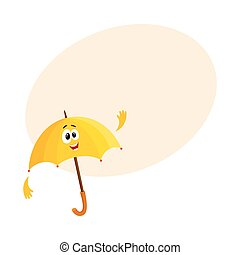 Funny open umbrella character with smiling human face waving...