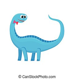 Cute and funny smiling baby brontosaurus, dinosaur character, decoration element