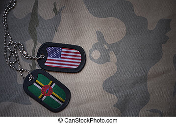 army blank, dog tag with flag of united states of america and dominica on the khaki texture background. military concept