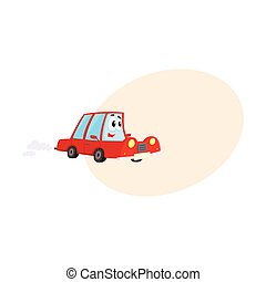 Cute and funny red car, auto character hurrying somewhere,...