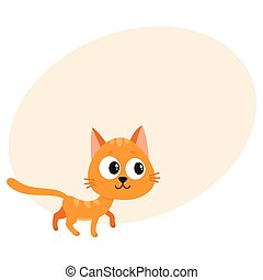 Cute and funny red cat character, curious, playful,...