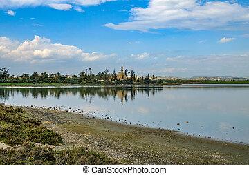 Aliki salt lake looking toward the Mosque - Aliki salt lake...