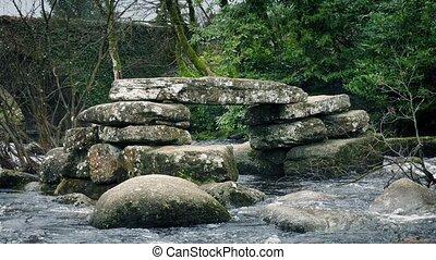 Ancient Stone Bridge Ruins In The River - Old stone bridge...