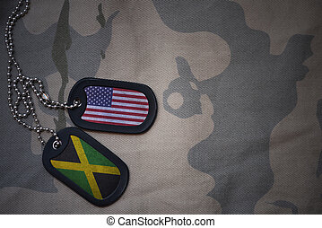 army blank, dog tag with flag of united states of america and jamaica on the khaki texture background. military concept