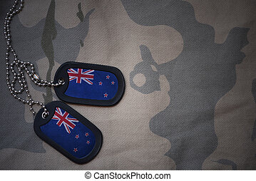 army blank, dog tag with flag of new zealand on the khaki...