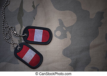 army blank, dog tag with flag of peru on the khaki texture...