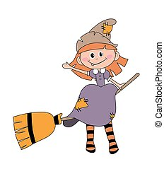 Befana sitting on a broomstick. Ugly witch. Italian...