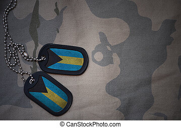 army blank, dog tag with flag of bahamas on the khaki...