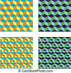 Seamless Cubes Patterns - This image is a illustration and...