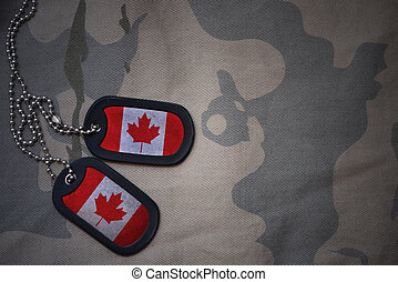army blank, dog tag with flag of canada on the khaki texture...