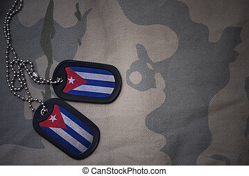 army blank, dog tag with flag of cuba on the khaki texture...