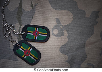 army blank, dog tag with flag of dominica on the khaki...