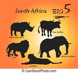 Big Five Vector Arts, Illustration. - In Africa, the big...