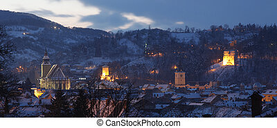 Old city view, Brasov, Romania - Night sets over the old...