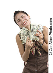 pretty woman happy with lots of money - pretty woman holding...
