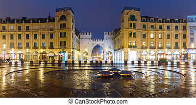 Karlstor Gate and Karlsplatz in Munich, Germany - Panoramic...