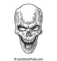 Skull human with a smile. Black vintage vector illustration....