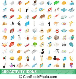 100 activity icons set, isometric 3d style - 100 activity...