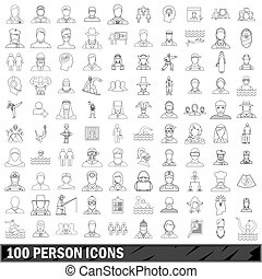 100 person icons set, outline style - 100 person icons set...
