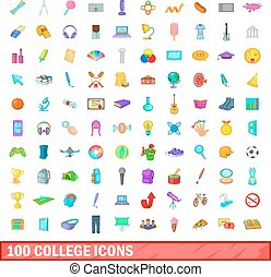 100 college icons set, cartoon style