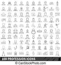 100 profession icons set, outline style - 100 profession...