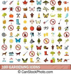 100 gardening icons set, flat style