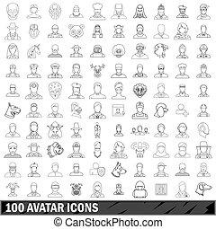 100 avatar icons set, outline style - 100 avatar icons set...