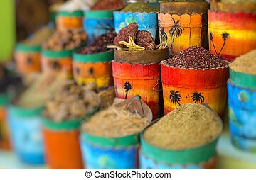 Traditional spices market with herbs and spices in Aswan,...