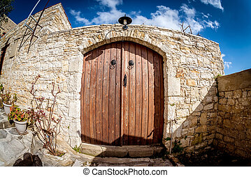 Old door in the village of Lofou. Limassol District. Cyprus